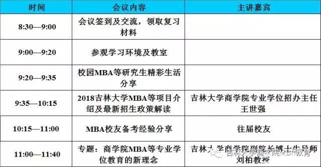 吉林大学商学院2018MBA/MPAcc/MF招生政策暨备考经验交流会